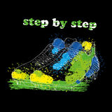 Hand drawn football boots with watercolor effect, ink, art and blot object. Step by step. Green spring. Royalty Free Stock Images