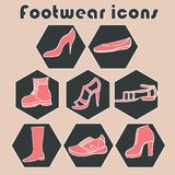 Hand drawn footwear  icons set Stock Photos