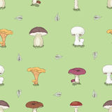 Hand drawn forest mushrooms seamless pattern Royalty Free Stock Photo