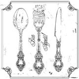Hand drawn fork, knife and spoon ornate vector illustration