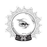 Hand drawn fortune telling magic crystal ball with eye of providence . Boho chic line art tattoo, poster or altar veil print desig. N vector illustration stock illustration