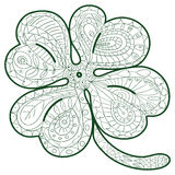 Hand drawn four leaf clover for adult coloring pages in doodle style, ethnic ornamental vector illustration. Coloring Stock Photos