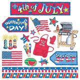 Hand-Drawn Fourth of July Artwork Royalty Free Stock Photography