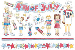 Hand-Drawn Fourth of July Family Royalty Free Stock Images