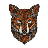 Hand drawn fox. Ethnic patterns. Vector illustration stock illustration
