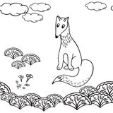 Hand drawn fox in the forest Stock Photo