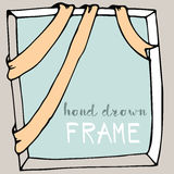 Hand drawn frame. Bow and ribbon border Stock Photo