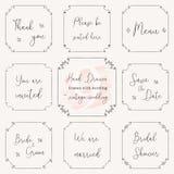 Hand drawn frame doodle. Vintage wedding frame vector design templates. Vintage frame vector clip art with wedding words. Wedding frame design vector images Royalty Free Stock Image