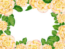 Hand-drawn frame with golden roses. Gentle card with golden roses Stock Photo