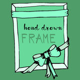 Hand drawn frame. Green bow and ribbon border Stock Photography