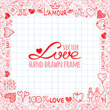 Hand drawn frame from love elements and cute Royalty Free Stock Photos