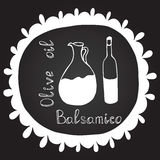 Hand drawn frame with olive oil bottle and balsamico. Banner collection. Royalty Free Stock Photos