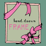 Hand drawn frame. Pink bow and ribbon border Stock Photos