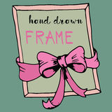 Hand drawn frame. Pink bow and ribbon border Royalty Free Stock Images