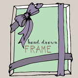 Hand drawn frame. Purple and green bow and ribbon border Royalty Free Stock Image