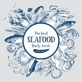 Hand drawn frame with seafood and fishes. Vector background for design menu, packaging, recipes, label, fish market. Seafood products. Hand drawn retro Stock Photo