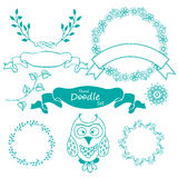 Hand drawn Frame set with owl and leaves. Royalty Free Stock Images