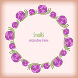 Hand drawn frame snails for kids. Graphic vector Royalty Free Stock Image