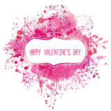 Hand drawn frame with text Happy Valentine's Day at pink watercolor texture with ornate branches and splashes of paint. Vector art Royalty Free Stock Images