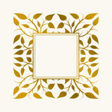 Hand Drawn Frame. Vector hand drawn frame. Border is made with seamless pattern with leaves Royalty Free Stock Photo