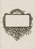 Hand drawn frame in vintage style. Hand drawn frame out of interlaced branches and leaves Royalty Free Stock Images