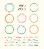 Hand drawn frame and wreath Stock Images