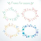 Hand-drawn frames with all seasons royalty free illustration