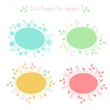 Hand-drawn frames with all seasons. Vector hand-drawn doodle colored floral and snowflakes frames with all seasons stock illustration