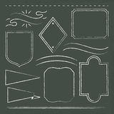 Hand drawn frames on chalkboard. 10 hand-drawn frames on chalkboard Royalty Free Stock Images