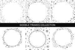Hand drawn frames collection. Hand drawn frames collection in doodle style Stock Images