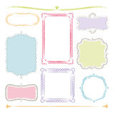 Hand drawn frames. 8 hand drawn colorful frames with pastel colors Stock Photo
