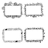 Hand drawn frames with hearts elements Stock Image