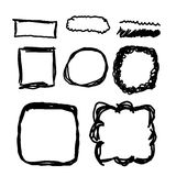 Hand drawn frames, lines and circle collection Stock Photos