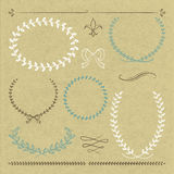 Hand drawn frames. 6 hand drawn frames and ornaments on cardboard with vector illustration Stock Image