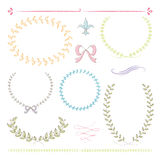 Hand drawn frames. 6 hand drawn frames and ornaments with pastel colors Stock Photos