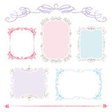 Hand drawn frames. 5 hand drawn frames and ornaments with pastel colors Royalty Free Stock Photo