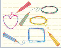 Hand drawn frames and pencils Royalty Free Stock Photos