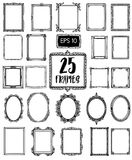 Collection 25 of beautiful hand draw frames. Vintage style. stock illustration