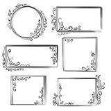 Hand drawn frames set. Cartoon vector square and round borders. Pencil effect shapes . Vector illustration Stock Image