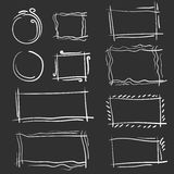 Hand drawn frames set. Cartoon vector square and round borders. Pencil effect shapes Royalty Free Stock Images