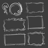 Hand drawn frames set. Cartoon vector square and round borders. Pencil effect shapes isolated. Vector illustration Stock Images
