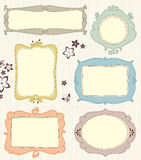 Hand Drawn Frames. A set of different frames. Background texture is a seamless pattern Royalty Free Stock Photos