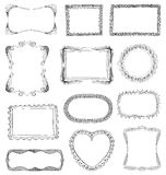 Hand drawn frames. Set with different ornaments Royalty Free Stock Images