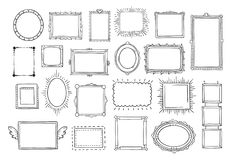 Free Hand Drawn Frames. Vintage Doodle Sketch Picture Frame. Blank Black Square Cadre Sketches Painted By Hands Vector Set Royalty Free Stock Images - 122492099