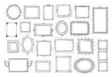 Hand drawn frames. Vintage doodle sketch picture frame. Blank black square cadre sketches painted by hands vector set. Hand drawn frames. Vintage doodle sketch vector illustration