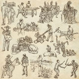 An hand drawn, freehand drawing, collection - People Royalty Free Stock Photos