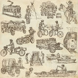 An hand drawn, freehand drawing, collection - Transport Stock Images