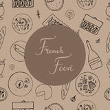 Hand drawn french cuisine seamless pattern. Stock Photos