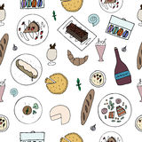 Hand drawn french cuisine seamless pattern. Royalty Free Stock Photos