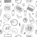Hand drawn french cuisine seamless pattern. Stock Photography